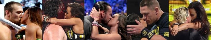 Aj's Kisses of The Year: Aj & Daniel Bryan,Aj & Kane,Aj & CM Punk,Aj & John Cena,and Aj & Dolph Ziggler