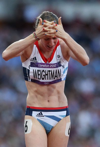 Laura Weightman of Great Britain reacts after competing in the Women's 1500m Semifinals on Day 12 of the London 2012 Olympic Games at Olympic Stadium on August 8, 2012 in London, England.