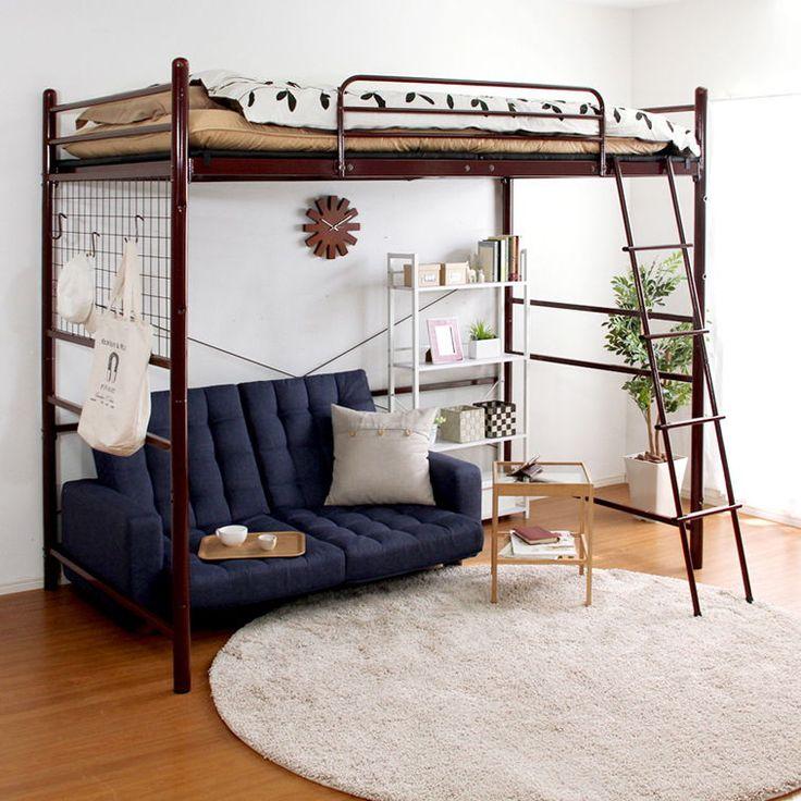 ベッド | 一人暮らしインテリアのジパング.com 高さ調整可能な極太パイプ ロフトベット 【ORCHID-オーキッド-】の
