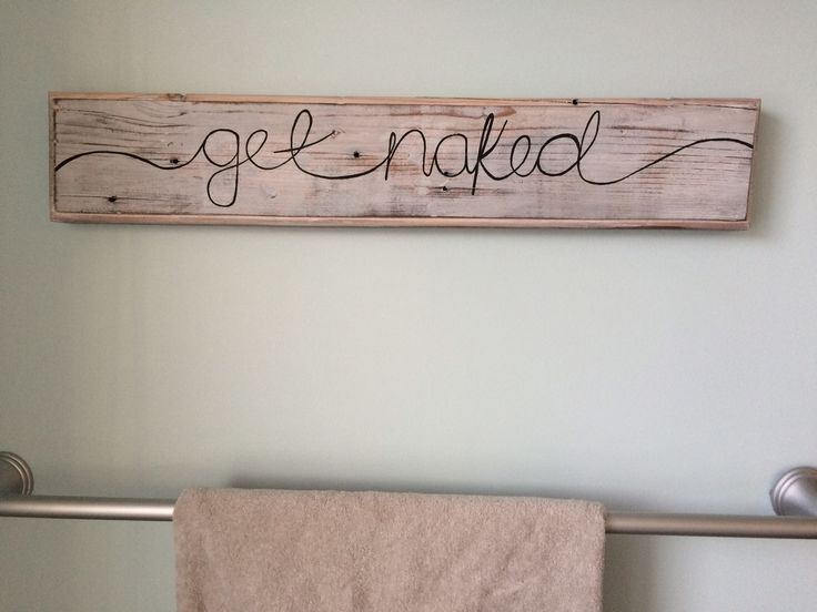 His her get naked bathroom wood sign getting crafty for Wood bathroom wall decor