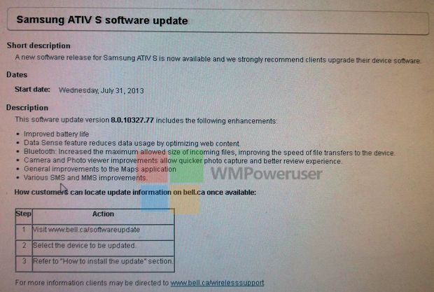 The GD2 Windows Phone update for the Samsung ATIV S on Bell is just about ready to roll out, and we have had a tipster send us the official changelog for the software. The changelog reveals a numbe...