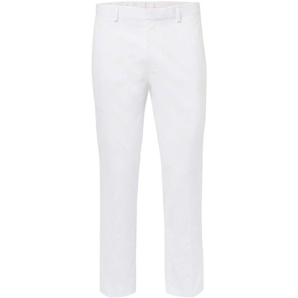 TOPMAN Premium White Skinny Fit Cropped Trousers (2,385 DOP) ❤ liked on Polyvore featuring men's fashion, men's clothing, men's pants, men's dress pants, white, mens zip off pants, mens white pants, mens white dress pants, mens zipper pants and mens white cotton pants