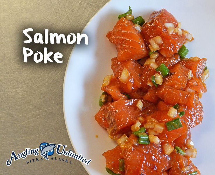 Recipe of the week: Salmon Poke.   Poke is a traditional Hawaiian dish usually made with Ahi, but also works great with raw salmon!