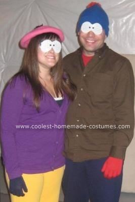 Homemade Stan and Wendy South Park Couple Costumes: I bought all the clothes for these Stan and Wendy South Park Couple Costumes from Walmart (purple cardigan, yellow sweatpants, and pink hat for Wendy;