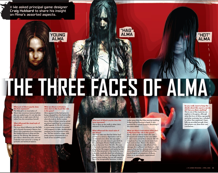 "Alma Wade is the villainess ghost figure and mascot of the F.E.A.R video game series. She is a (sometimes) sexualized abuse victim turned vengeful psychic poltergeist/ghost. She often appears completely naked either as ""hot"" or ""grotesque"" depending on the situation. She is an example of the ""abuse makes you crazy and evil"" trope sometimes using her sexuality against her enemies. #sexualizedvillainess #sexualviolence #sexualabuse #grotesquevillainess #sexasweapon #womenarecrazy"