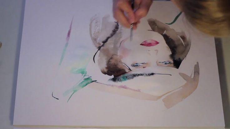 Quick Watercolor Drawing of Fashion Portrait. Watercolour