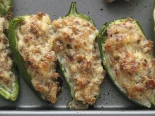 Jalapeno's stuffed with sausage and cream cheese...:)