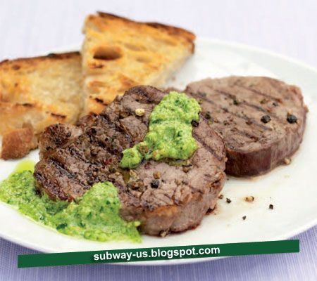 pepper-steak-with-parsley-and-almond-pesto-recipe | YUM | Pinterest