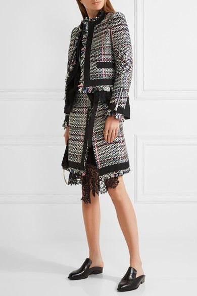 Sacai - Corded Lace And Twill-trimmed Tweed Wrap-effect Skirt - Black - 4