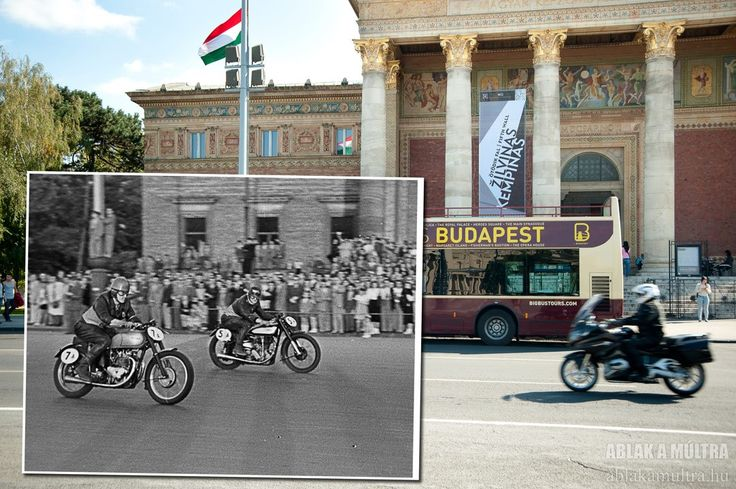 Budapest | Moto Race at Heroes' Square in front of Kunsthalle. credit: Ablak a múltra / Window to the past. see on https://www.facebook.com/BudapestPocketGuide #Budapest #MyBudapest #Travel2Budapest #travel