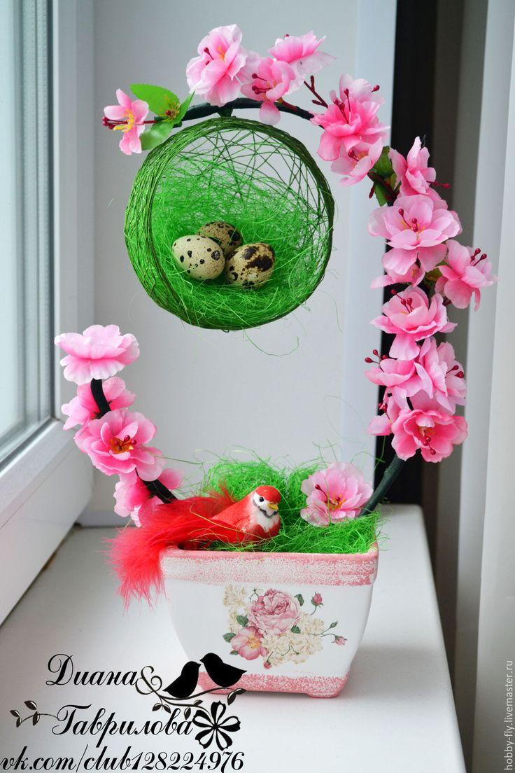 """Купить Топиарий """"Птичка в гнезде"""" - розовый, топиарий, топиарий купить, топиарий с птицей"""