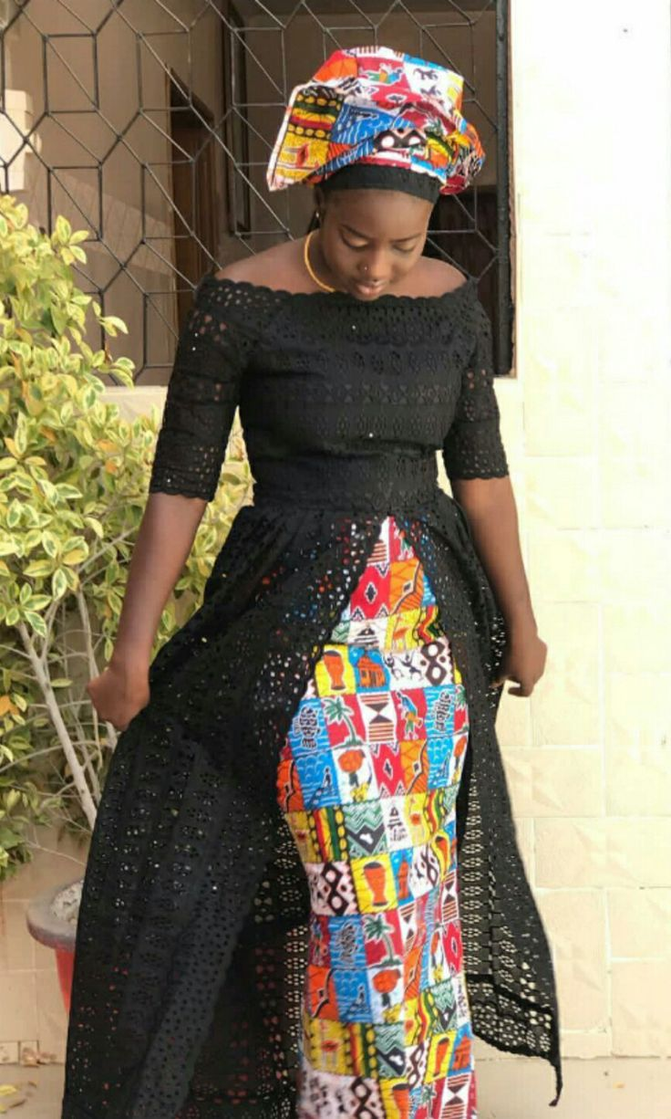Vendredi: blue lace top + african prints skirt and…