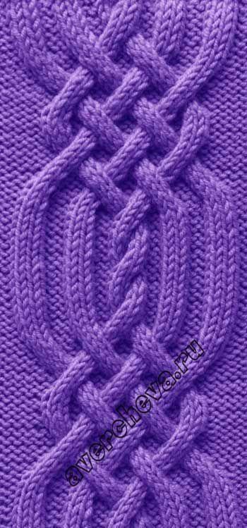 Узор 778 Коса из 34 петель | каталог вязаных спицами узоров