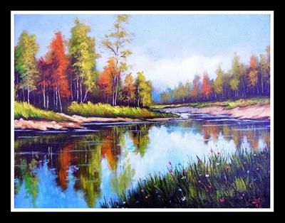 """""""Autumn on the lake""""oil  pinting by Constantin Paunescu"""