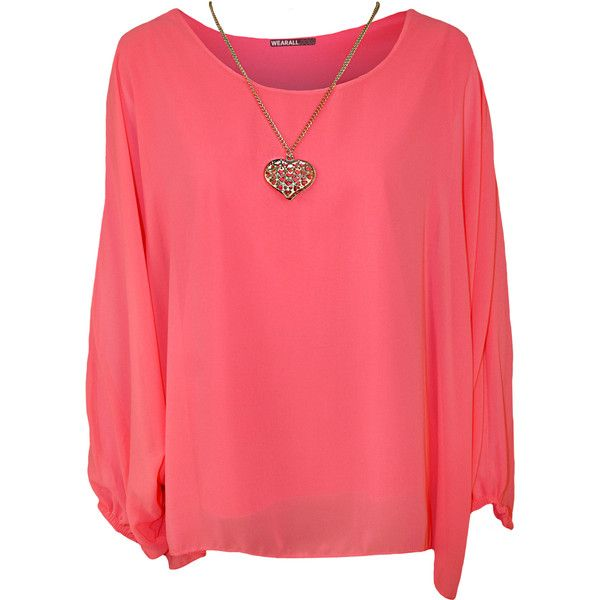 Nora Baggy Batwing Sleeve Necklace Top ($21) ❤ liked on Polyvore featuring tops, shirts, fluorescent pink, plus size, plus size red shirt, womens plus size shirts, neon pink shirt, neon shirts and summer tops