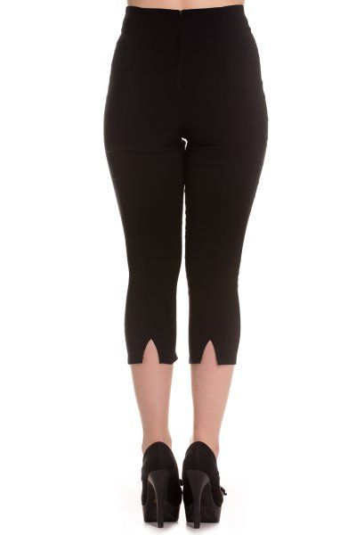Tine Black Capri Pants by Hell Bunny have darts in the front to shape and a V-shaped gap at the hem of the leg of the back. The pedal pushers have a zip in the centre back seam.