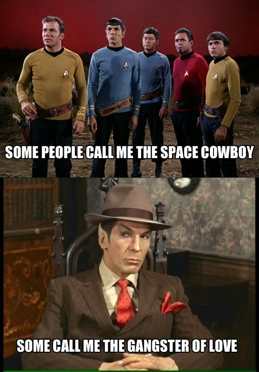 I don't even watch Star Trek and this is awesome :) The song is The Joker by the Steve Miller Band. Go and listen to it... Now.