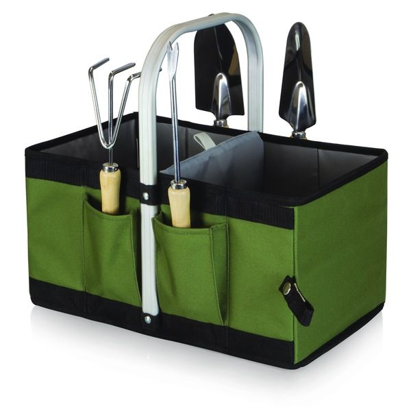 Picnic Time Garden Caddy Collapsible Basket with Tools - Set of 2