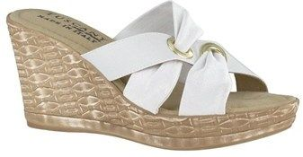 Easy Street Shoes Solaro Women Open Toe Canvas Blue Wedge Heel.