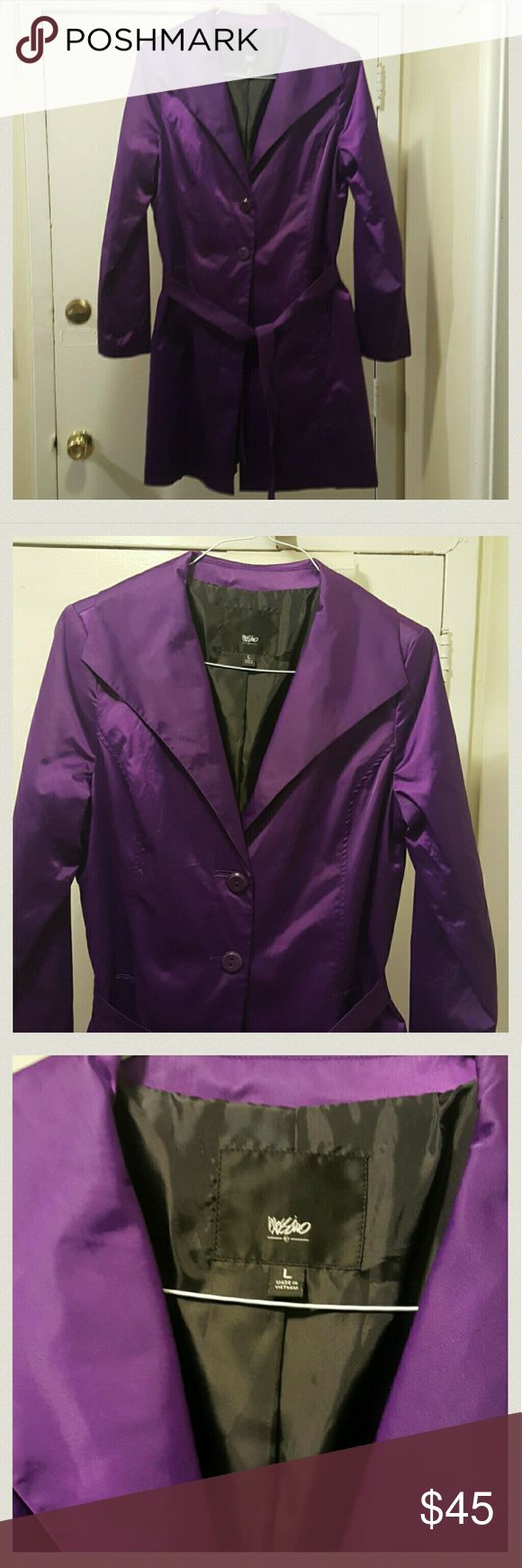 Beautiful Mossimo trench coat NWOT Purple, cotton nylon, looks silk, lined, size lg, NEW Mossimo Supply Co. Jackets & Coats Trench Coats
