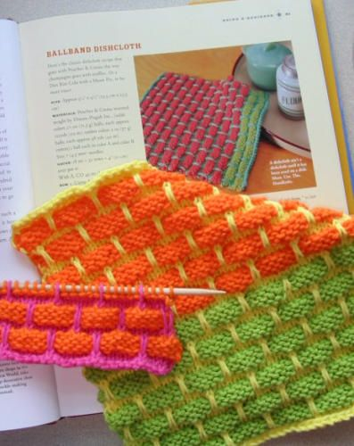 Favorite Summer Knitting Pattern: Cotton yarn is so easy to knit in the summer, and these cloths can be made in wild combos -- perfect for knitting while sipping wine on the patio.