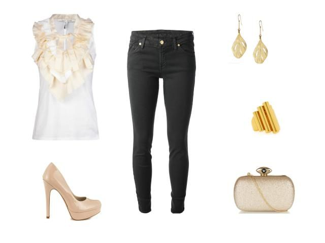 Holiday Style - Holiday Cocktail Party Outfit - Skinny Black Jeans and White Ruffle Blouse