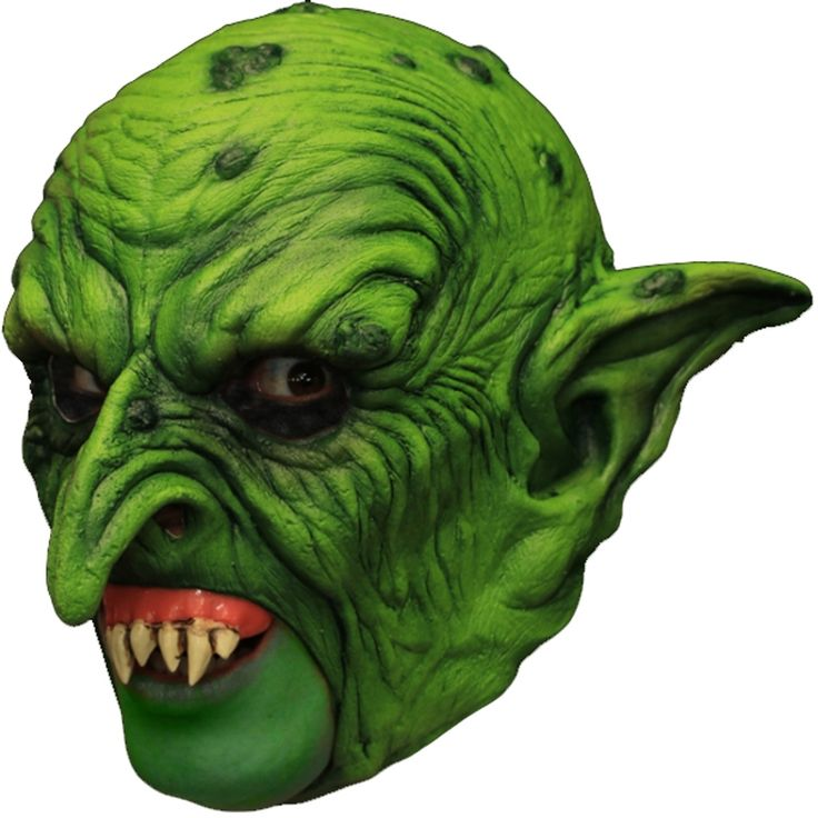 Puck The Goblin Latex Halloween Mask Green Open Mouth Prosthetic Teeth Adult