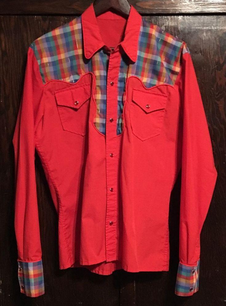 VTG Western Country ROCKABILLY Shirt RED RAINBOW Retro Hipster FLANNEL Snaps #Handmade #Western