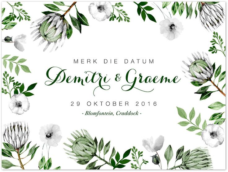 Simplistic white & green floral/protea save the date design