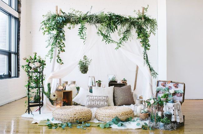 Bohemian Picnic elopement. Indoor loft space transformed into the perfect…