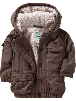 Sherpa-Lined Canvas-Cargo Jackets for Baby | Old Navy