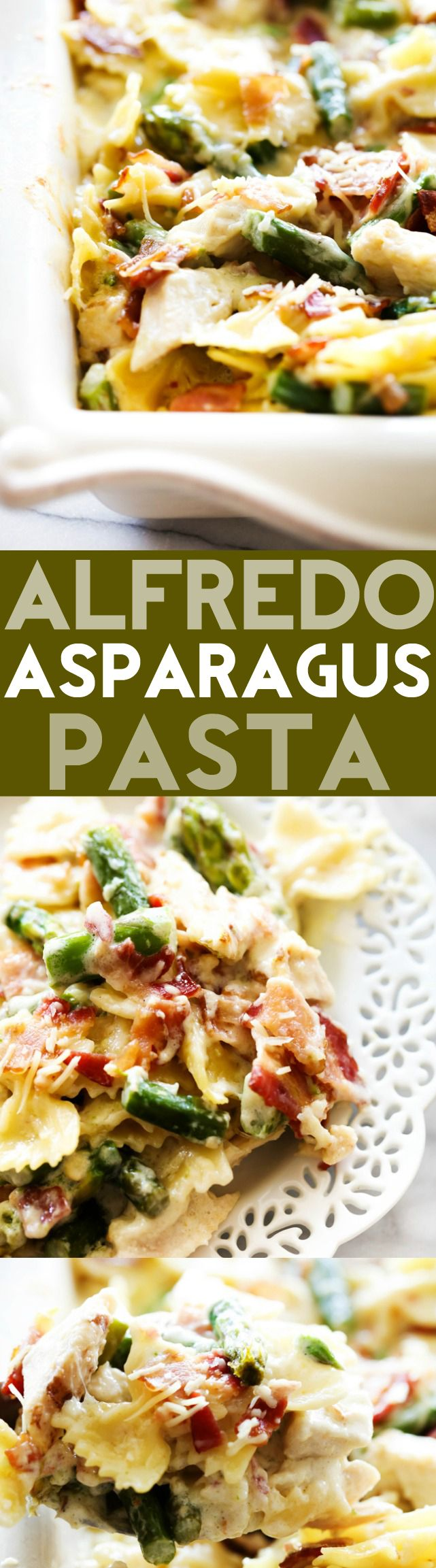 Alfredo Asparagus Pasta... A tasty and delightful dinner loaded with flavor and delicious ingredients! This will become a new family favorite!