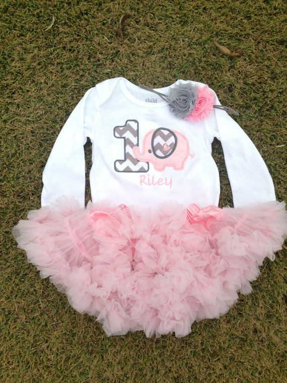 Grey and pink chevron elephant birthday outfit - 1st birthday shirt and headband - chevron leg warmers and headband