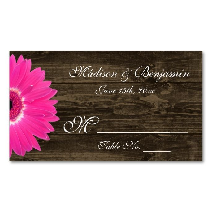The 2192 best rustic business card templates images on pinterest rustic hot pink gerber daisy wedding place cards colourmoves