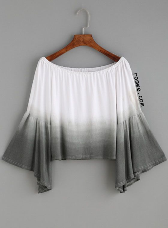 Ombre Boat Neck Bell Sleeve Crop Top