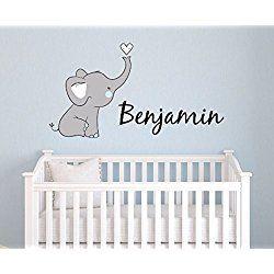 Boys Nursery Elephant Custom Personalized Name Wall Decal Large, Nursery Elephant Wall Decals, Boys Personalized Decals Elephants, Nursery Decals, Nursery Wall Decals, PLUS FREE HELLO DOOR DECAL