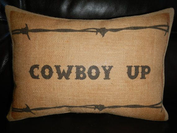 Cowboy Up Barbed Wire  Burlap Pillow Western Accent Cowboy Decor via Etsy