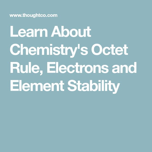 Learn About Chemistry's Octet Rule, Electrons and Element Stability