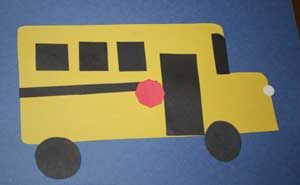 Shape School Bus Craft.  Give each child a bus shape cut out.  Have squares, circles, rectangles, etc. cut out and encourage kids to make their bus.  When complete, give stop sign stickers or cut-outs.