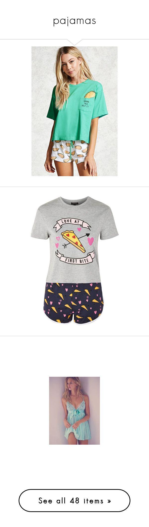 """""""pajamas"""" by marimorett ❤ liked on Polyvore featuring intimates, sleepwear, pajamas, short sleeve pajama set, forever 21 sleepwear, forever 21 pajamas, short sleeve pajamas, forever 21, grey and topshop pyjamas"""