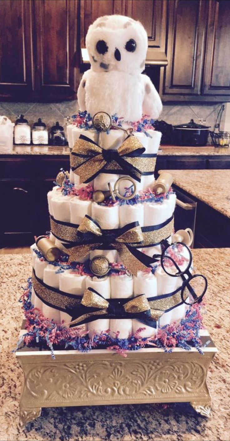 Hedwig Owl - Harry Potter Baby Shower diaper cake. Gender reveal. Twins! Boy or girl? He or she? Pink or blue? Gold black and white.