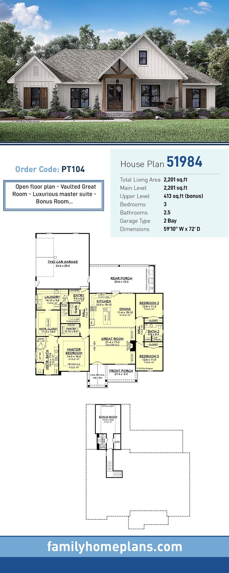 Southern Style House Plan Number 51984 with 3 Bed, 3 Bath, 2 Car Garage