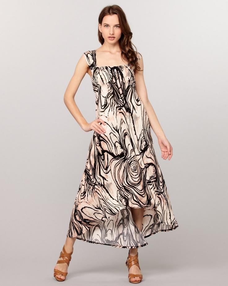 TRACY REESE ベージュ×ブラックプリントジャージードレス