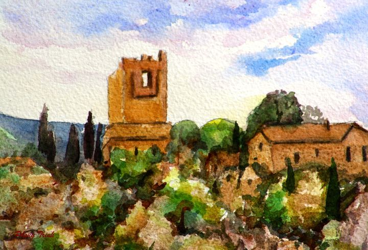 Lagrasse (11) - Phong Trinh Watercolor. More Fine Art Print Available at http://www.artpal.com/phongtrinh/