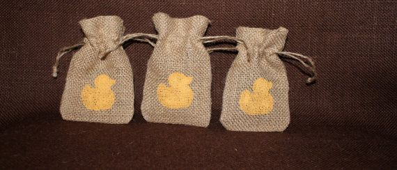 Small burlap Duck Baby Shower favor bag. Baby by MadyBellaDesigns, $17.50
