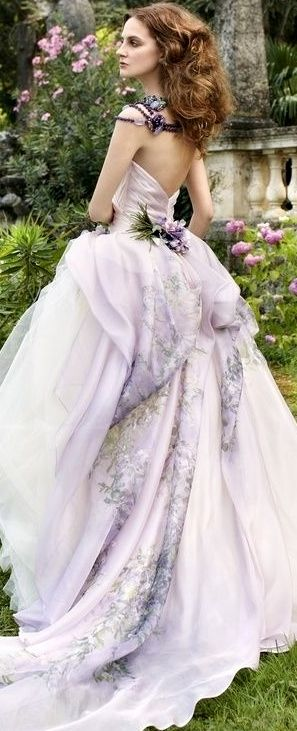Lavender Gown    jaglady I could see this as my dress.. Unconventionally gorgeous!!! Looks like an exotic flower