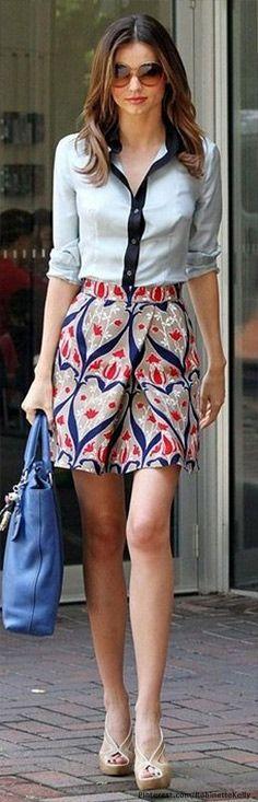 estilo de la callewachabuy modelo Miranda Kerr falda estampada    8      4