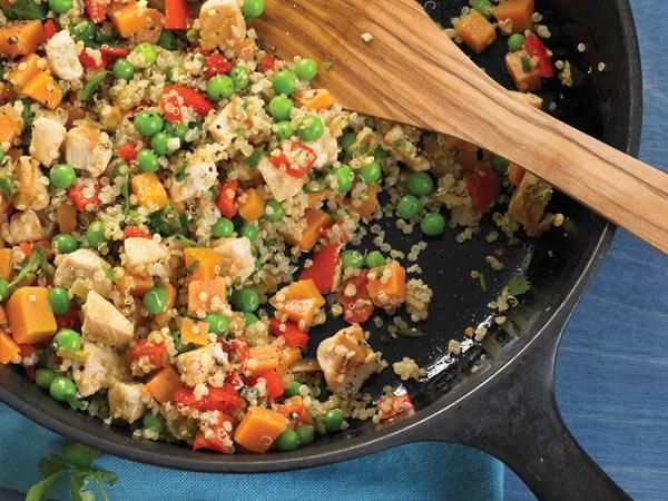 Cook Once, Eat All Week: Quinoa: Wednesday: Chicken-Sweet Potato Stir-Fry minus the oil and salt... IM ALL IN.