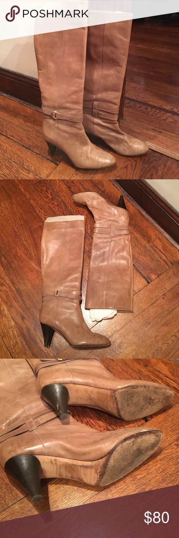 """Loeffler Randall tan leather boots Loeffler Randall tan leather boots. 2.5"""" heels, cute buckle detail. All leather made in Italy. No zipper. Boots are pull up. Water marks on the toe area, but leather is in good condition. Loeffler Randall Shoes Heeled Boots"""