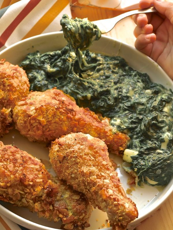 Oggi alla Prova del cuoco: coscette croccanti di pollo con spinaci filanti